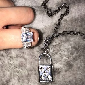 CZ SILVER LOCK NECKLACE AND MATCHING CZ RING NWOT